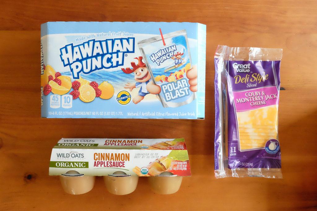 子供用ジュース、コルビー&モントレージャックチーズ、アップルソース