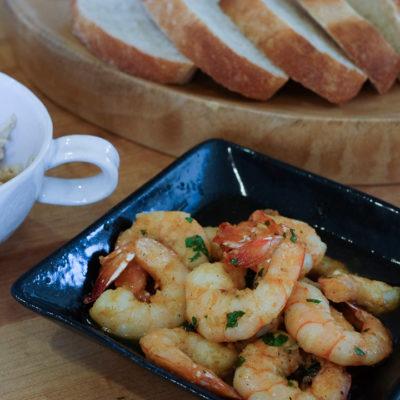 【レシピ】海老のアヒージョと、手作りバゲット