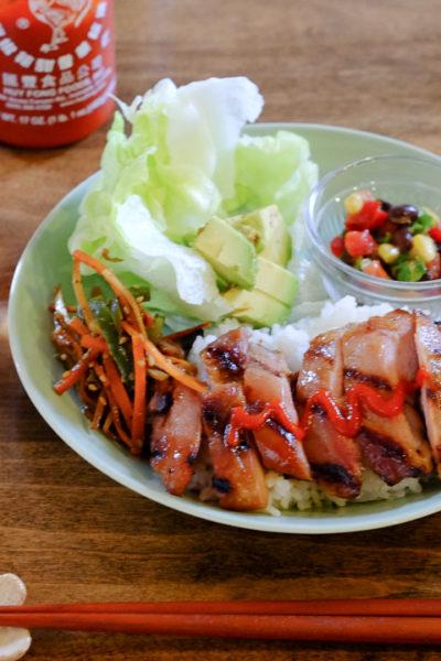 【レシピ】ハワイ風チャーシューチキンのワンプレートディナー