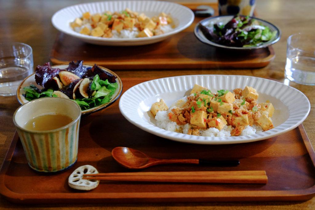 四川風麻婆豆腐とフィグサラダ