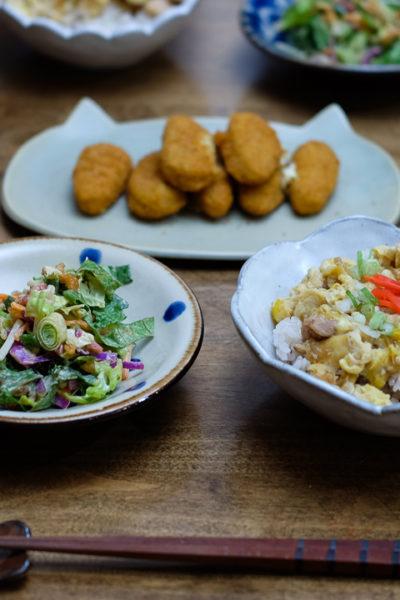 親子丼とチョップドサラダの献立、と2016年のボージョレーヌーボー