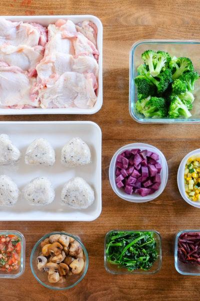 【常備菜・レシピあり】ズッキーニとコーンの塩レモン炒め、紫芋の大学芋風きんぴら、マッシュルームのバルサミコ酢炒め、など9品