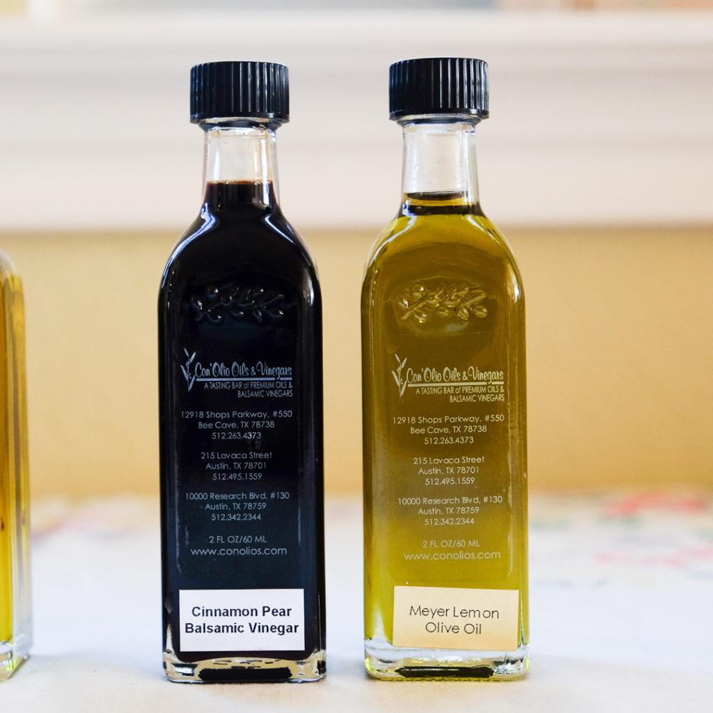 シナモンと洋ナシのバルサミコ酢、とメイヤーレモンオイル