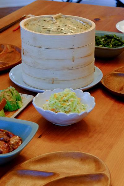 おもてなし*蒸篭で蒸したシュウマイ、空芯菜の炒め物、アボポン、など♪