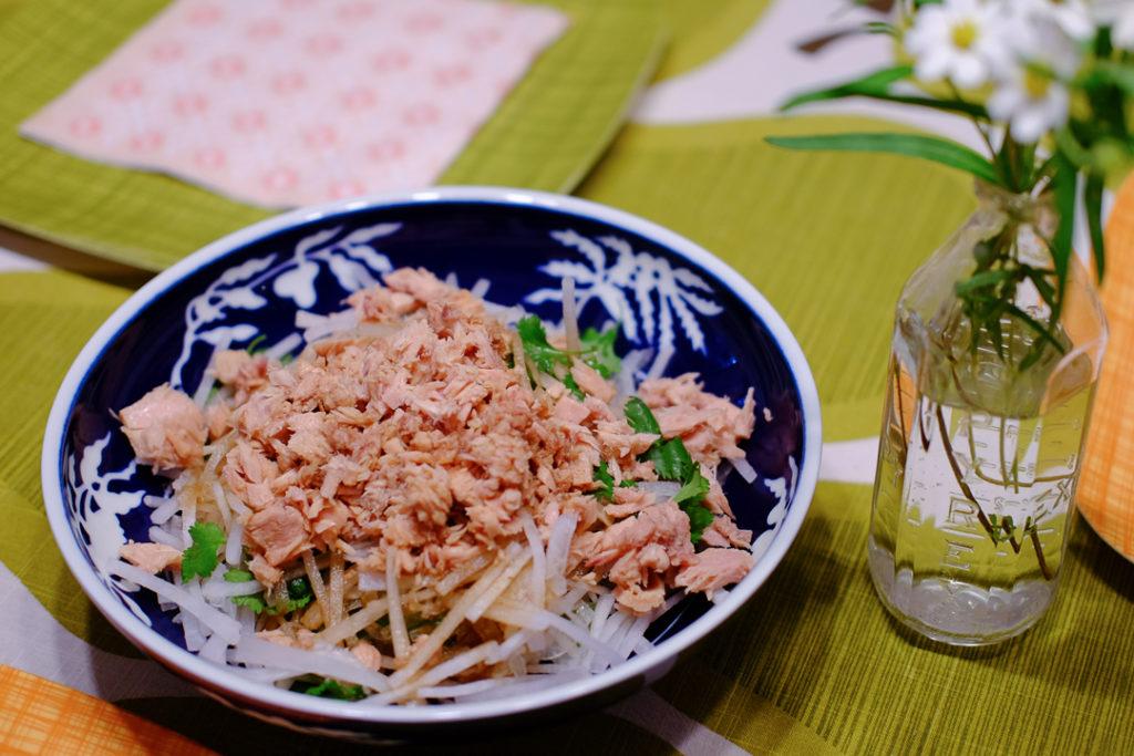 ツナ、大根、パクチーのサラダ