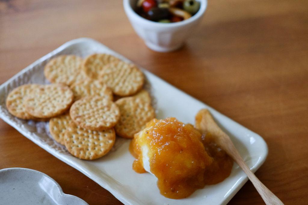 クリームチーズ+ピーチプリザーブ