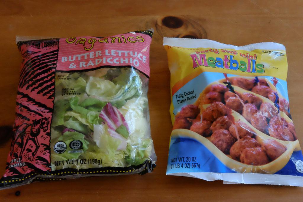 サラダパッケージと冷凍ミートボール