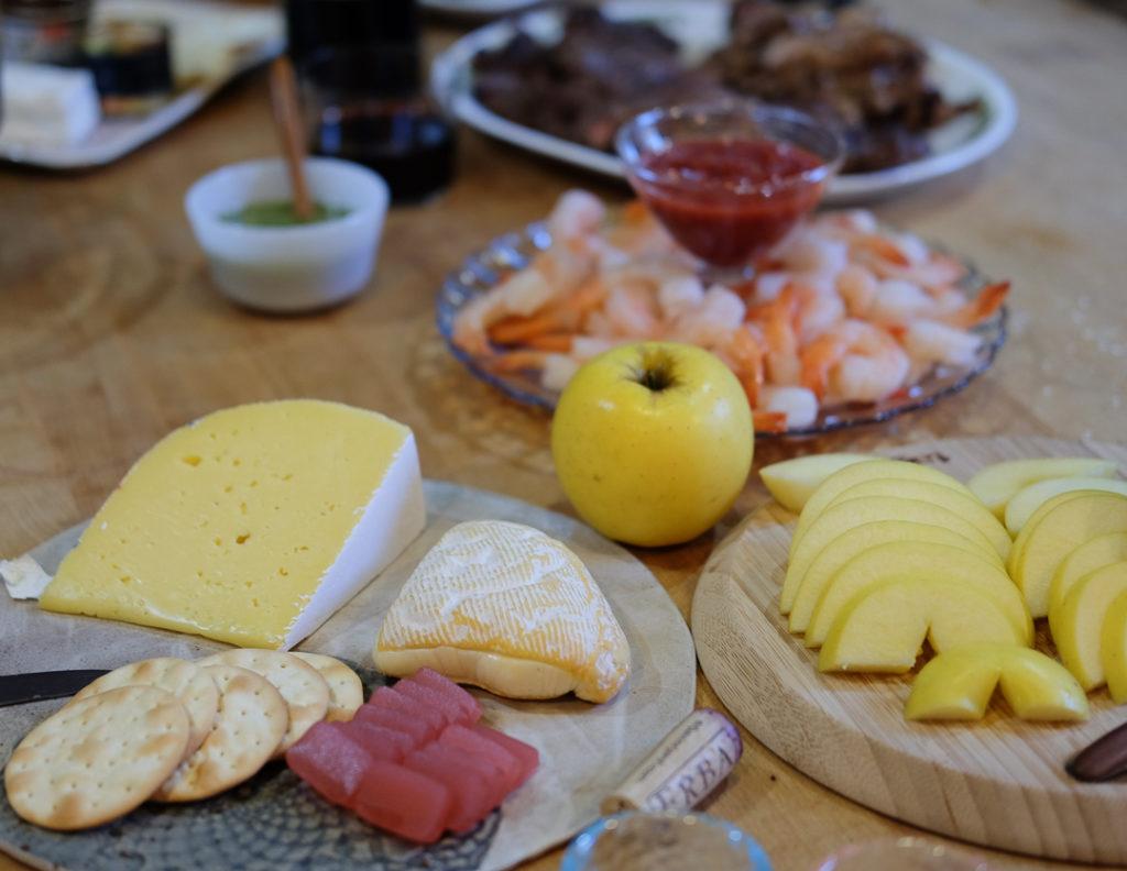 チーズプレート&シュリンプカクテル
