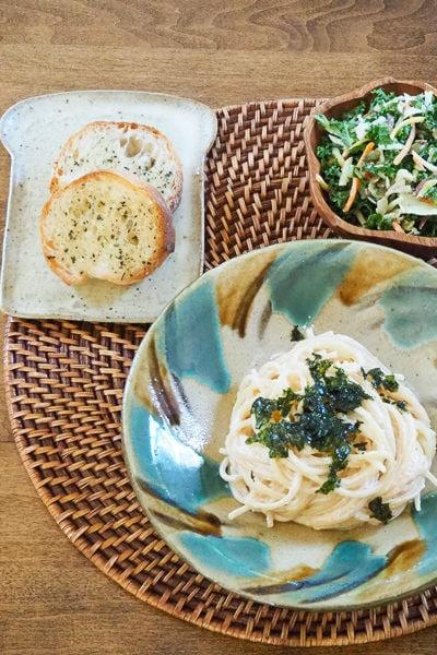 【レシピ】明太子クリームパスタ&トレジョの「タヒニドレッシングコールスロー」の夕食