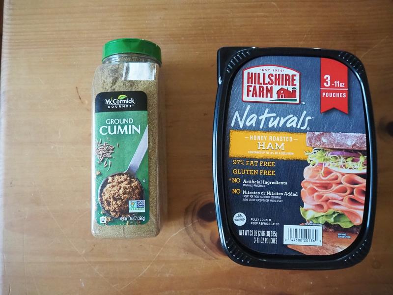 サンドイッチ用のハムとクミン